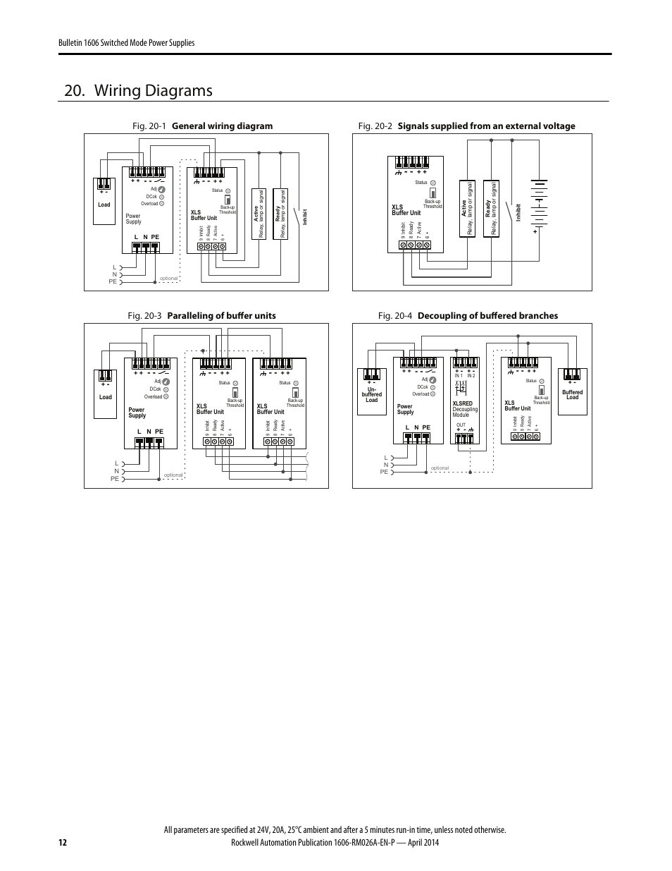 Wiring diagrams, Fig. 20-1 general wiring diagram, Fig. 20-3 paralleling of  buffer units | Rockwell Automation 1606-XLSBUFFER24 Power Supply Reference  Manual User Manual | Page 12 / 14 | Original modeManuals Directory