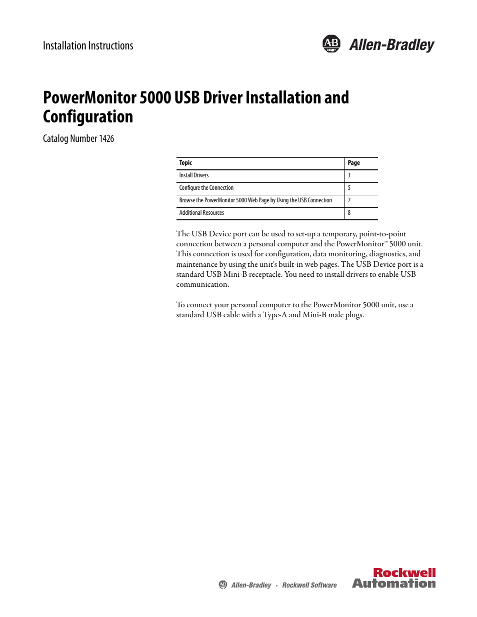 Rockwell Automation 1426-COMM-DNT PowerMonitor 5000 Unit
