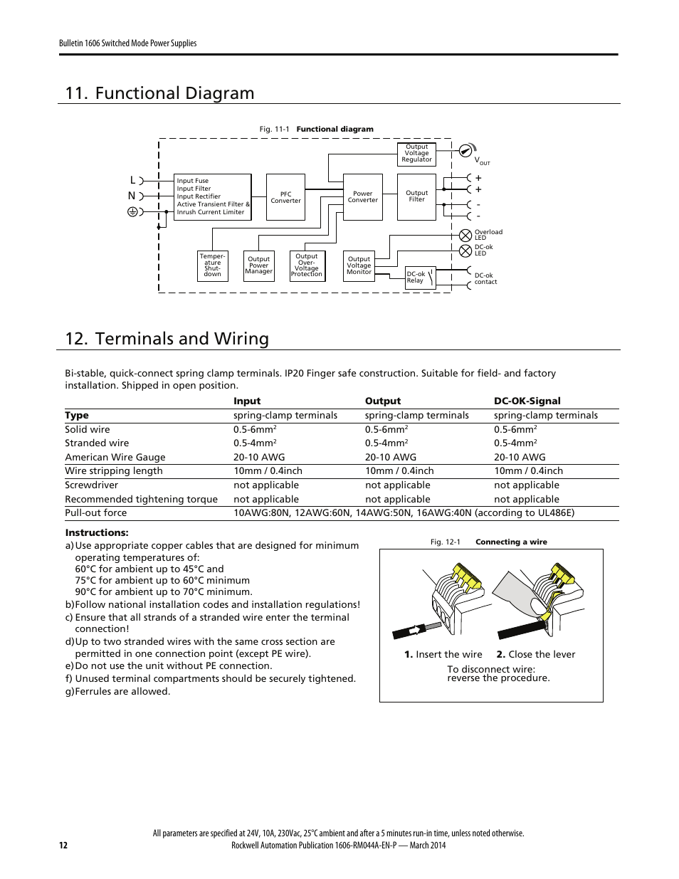 Functional Diagram Terminals And Wiring Rockwell Automation 1606 230 Vac Xls240e Xls240ea Xls240ec D Power Supply Reference Manual User