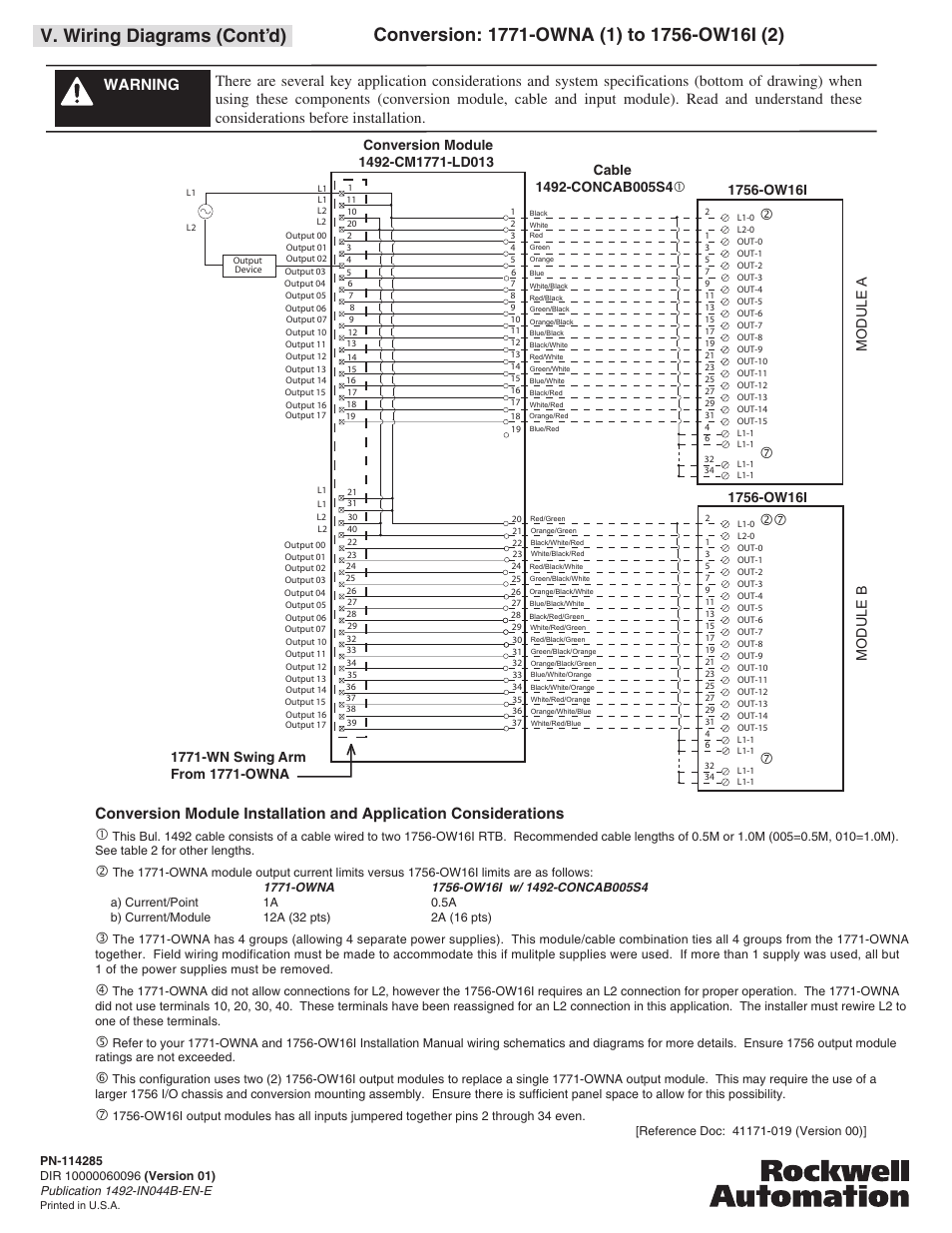 V. wiring diagrams (cont'd) | Rockwell Automation 1492-CM1771-