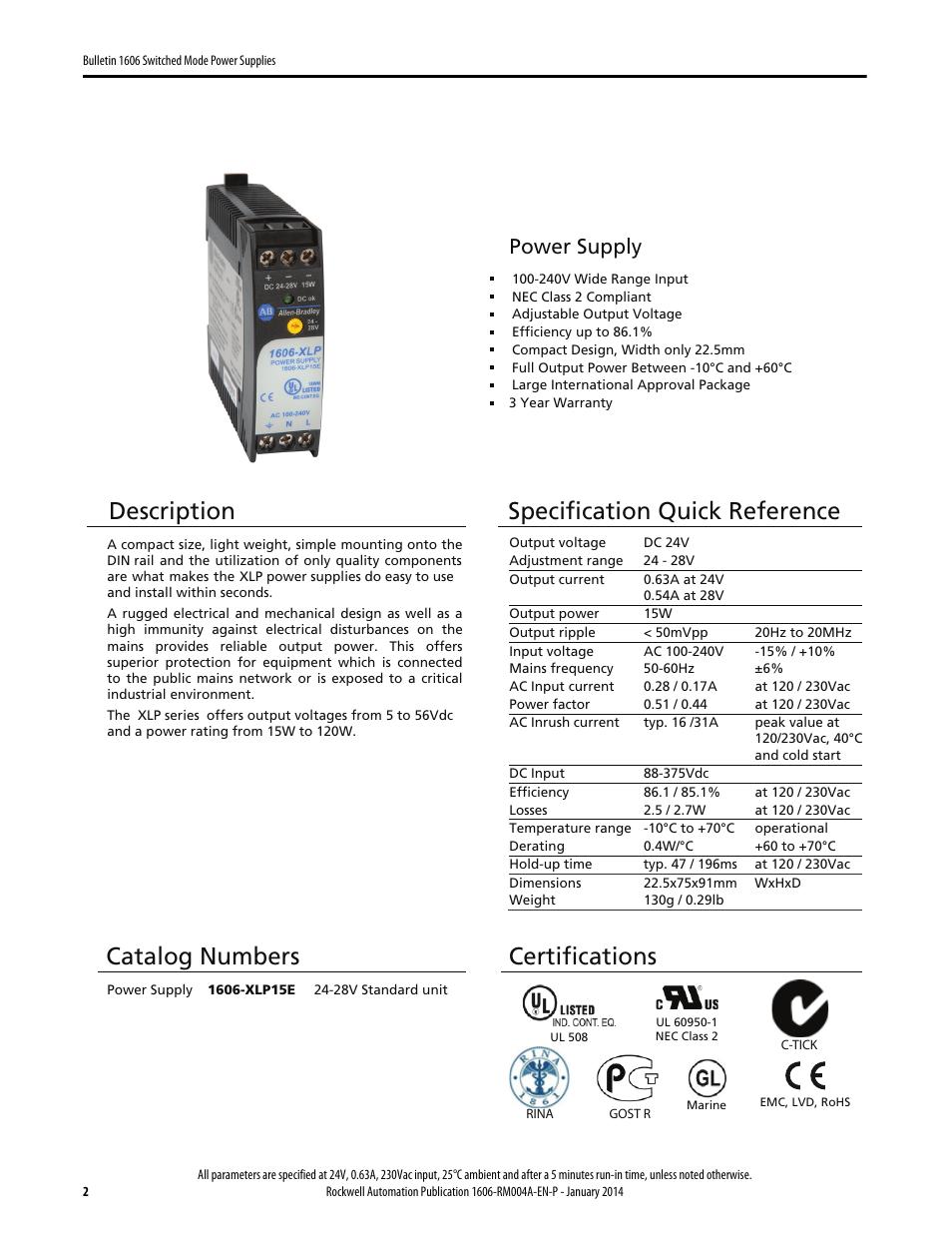 Description, Specification quick reference, Catalog ...