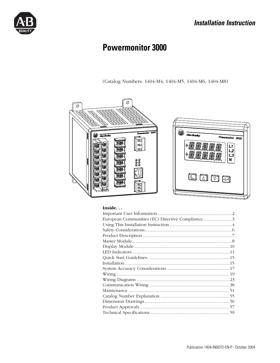 Rockwell Automation 1404-M4_M5_M6_M8 Powermonitor 3000 Installation  Instructions, PRIOR to Firmware rev. 3.0 User Manual | 66 pages