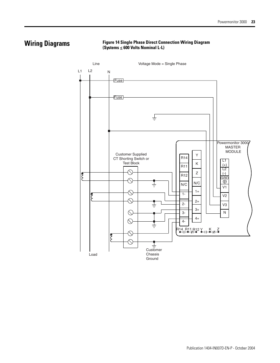 Wiring diagrams | Rockwell Automation 1404-M4_M5_M6_M8 Powermonitor 3000  Installation Instructions, PRIOR to Firmware rev. 3.0 User Manual | Page 23  / 66