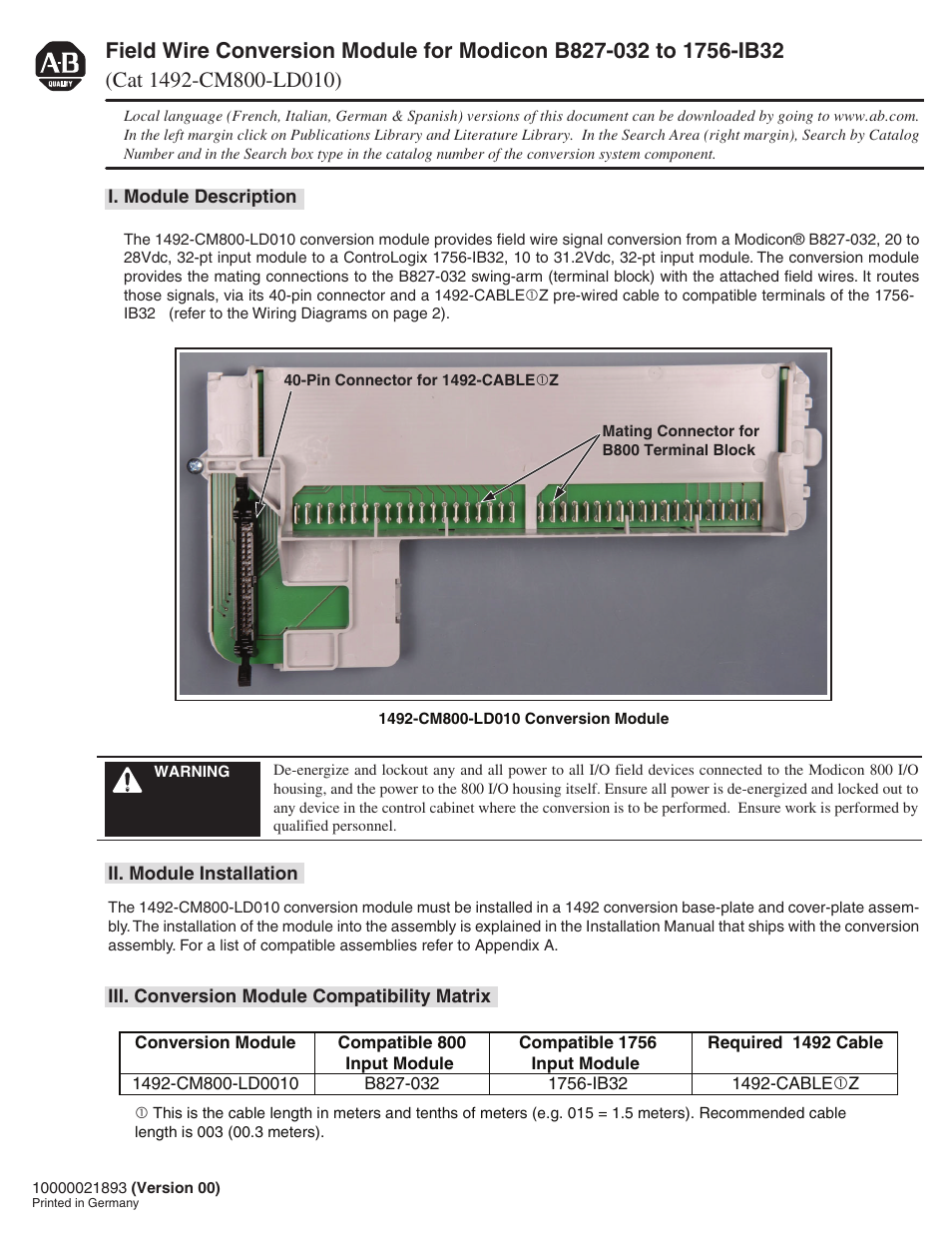 Rockwell Automation 1492-CM800-LD010 Field Wire Conv. Module for Modicon  B827-032 to 1756-IB32 User Manual | 4 pages