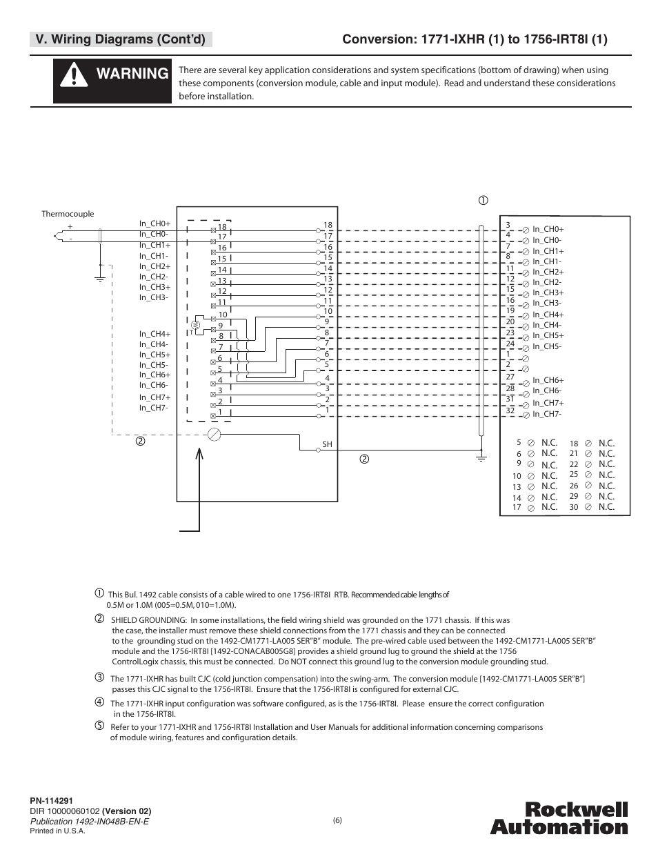 Warning, V. wiring diagrams (cont'd) | Rockwell Automation 1492-