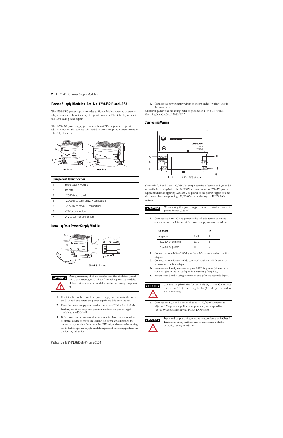 Installing Your Power Supply Module Connecting Wiring Rockwell Ac Panel Automation 1794 Ps13 Ps3 Flex I O Dc Install Instr User Manual Page 2 4