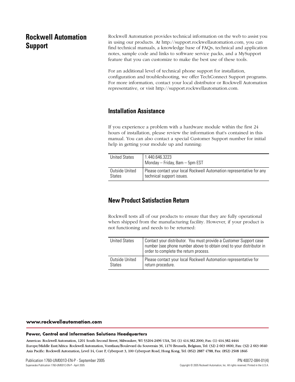 Back cover, Rockwell automation support, Installation assistance | New  product satisfaction return | Rockwell
