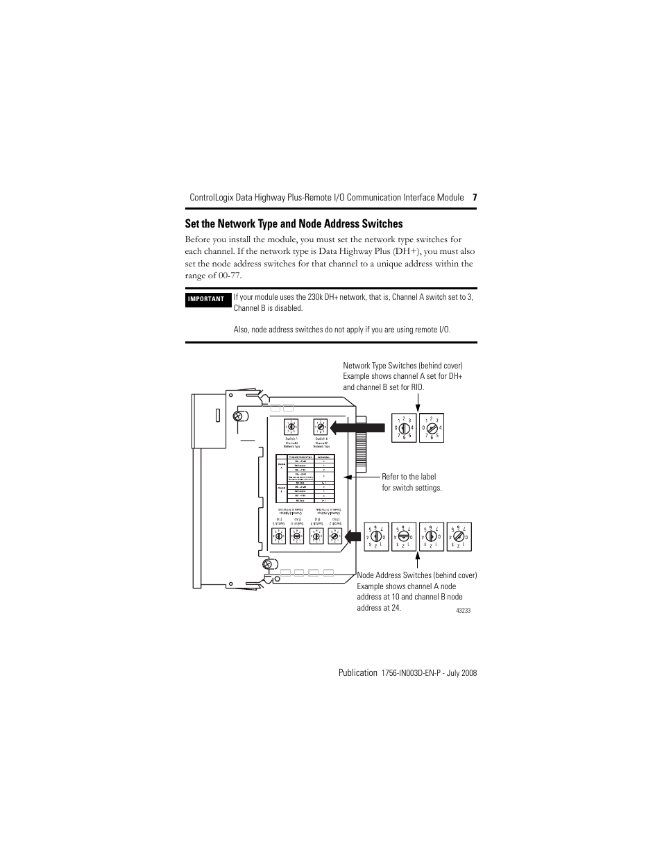 set the network type and node address switches rockwell automationset the network type and node address switches rockwell automation 1756 dhrio controllogix data highway plus remote i o communication interface module
