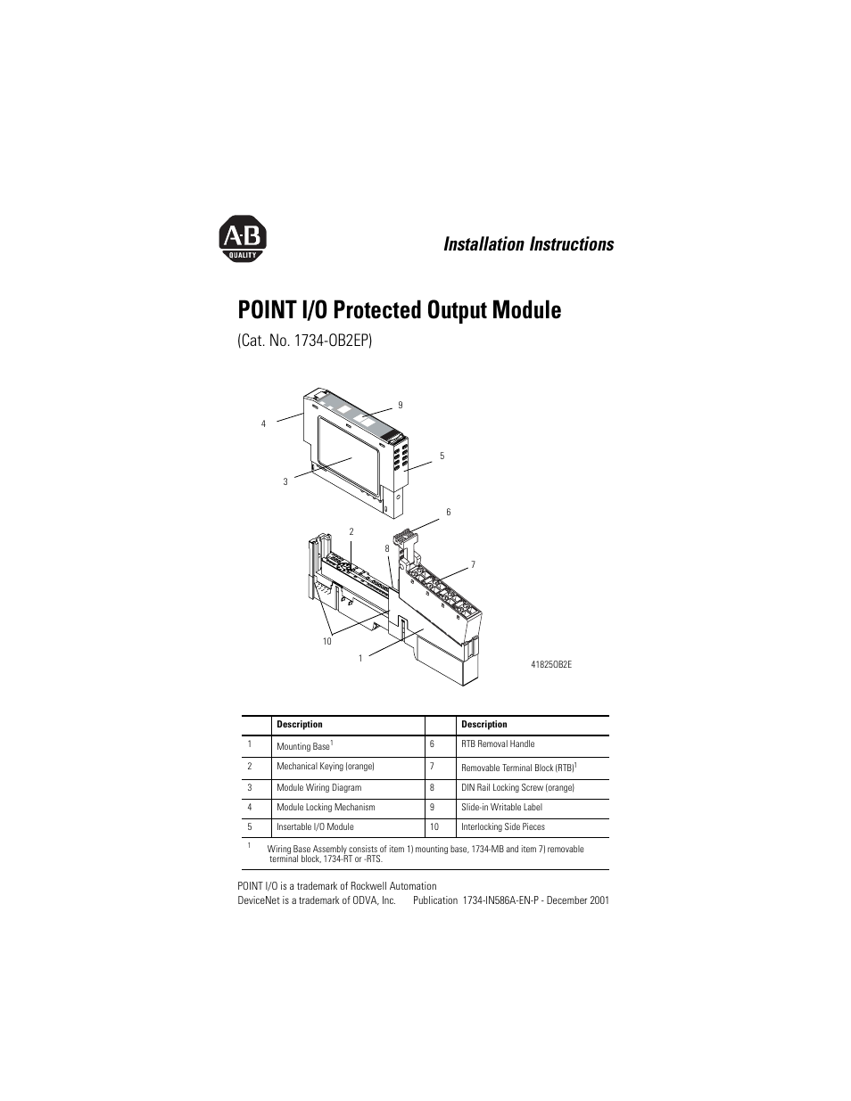 Rockwell Automation 1734 Ob2ep Point I O Protected Output Module Din Rail Wiring Diagram Installation Instructions User Manual 16 Pages