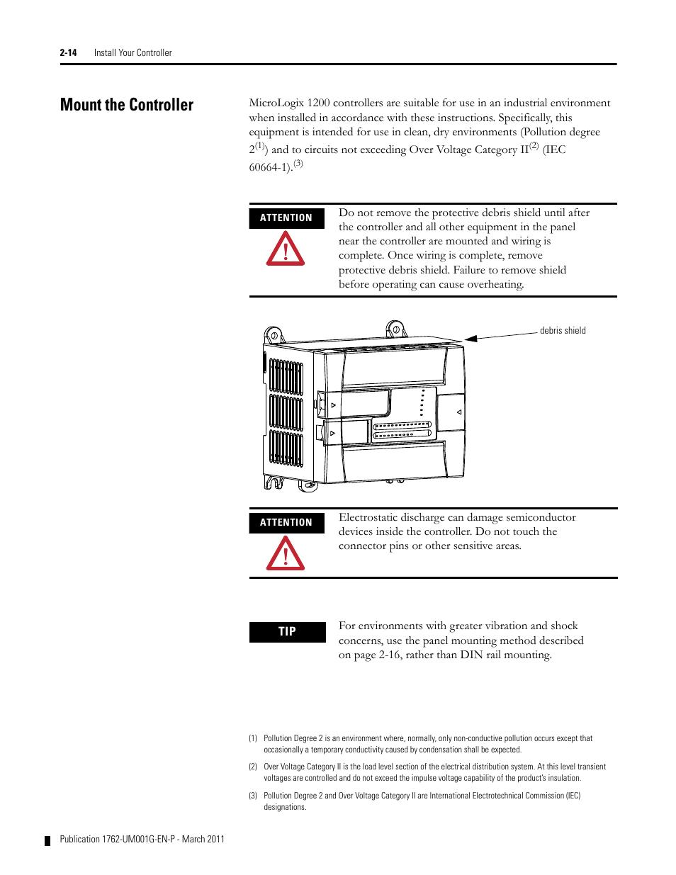 Mount the controller, Mount the controller -14 | Rockwell Automation ...