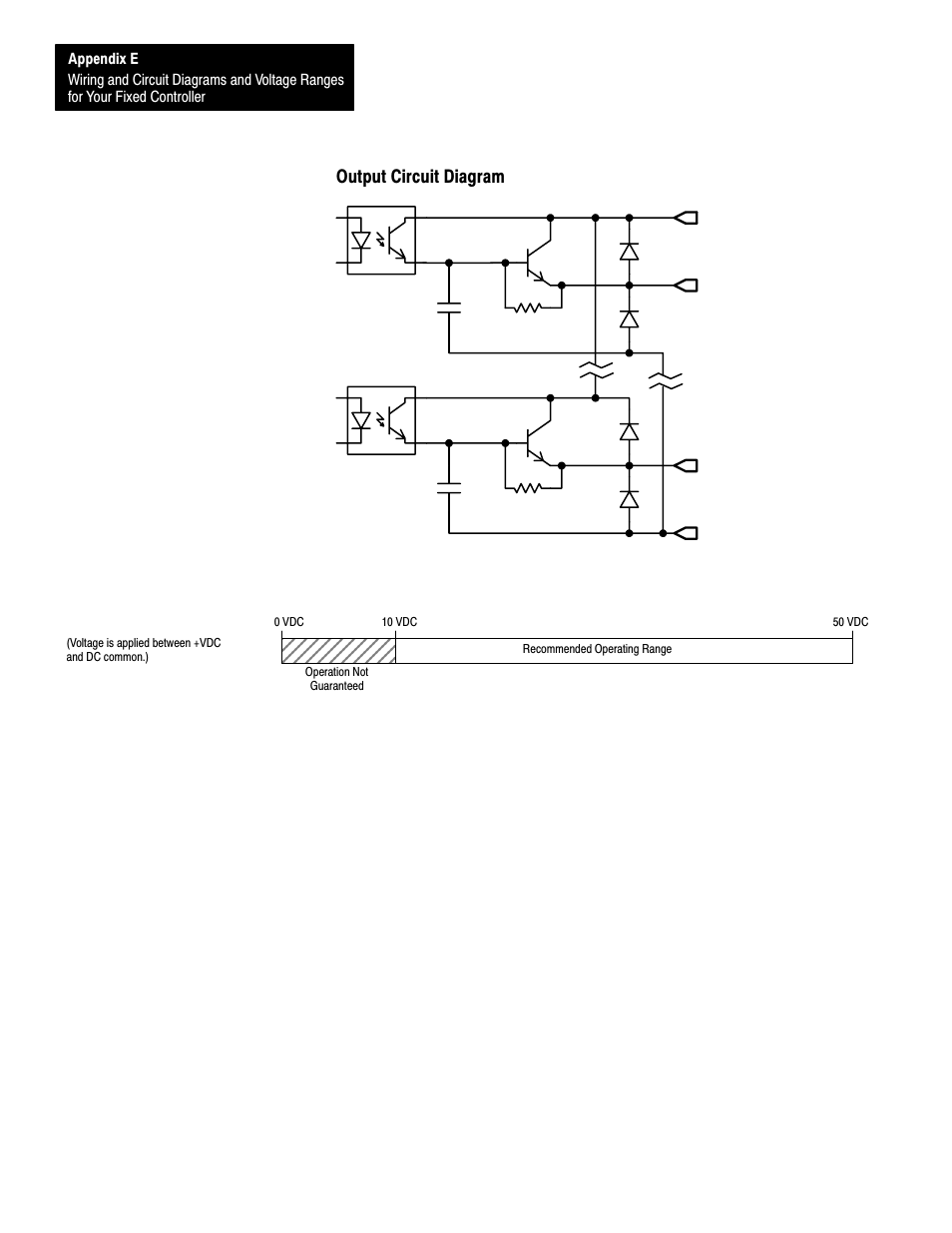 output circuit diagram, e-22, operating voltage range | rockwell automation  1747-l40 slc 500 fixed hardware style user manual | page 165 / 223