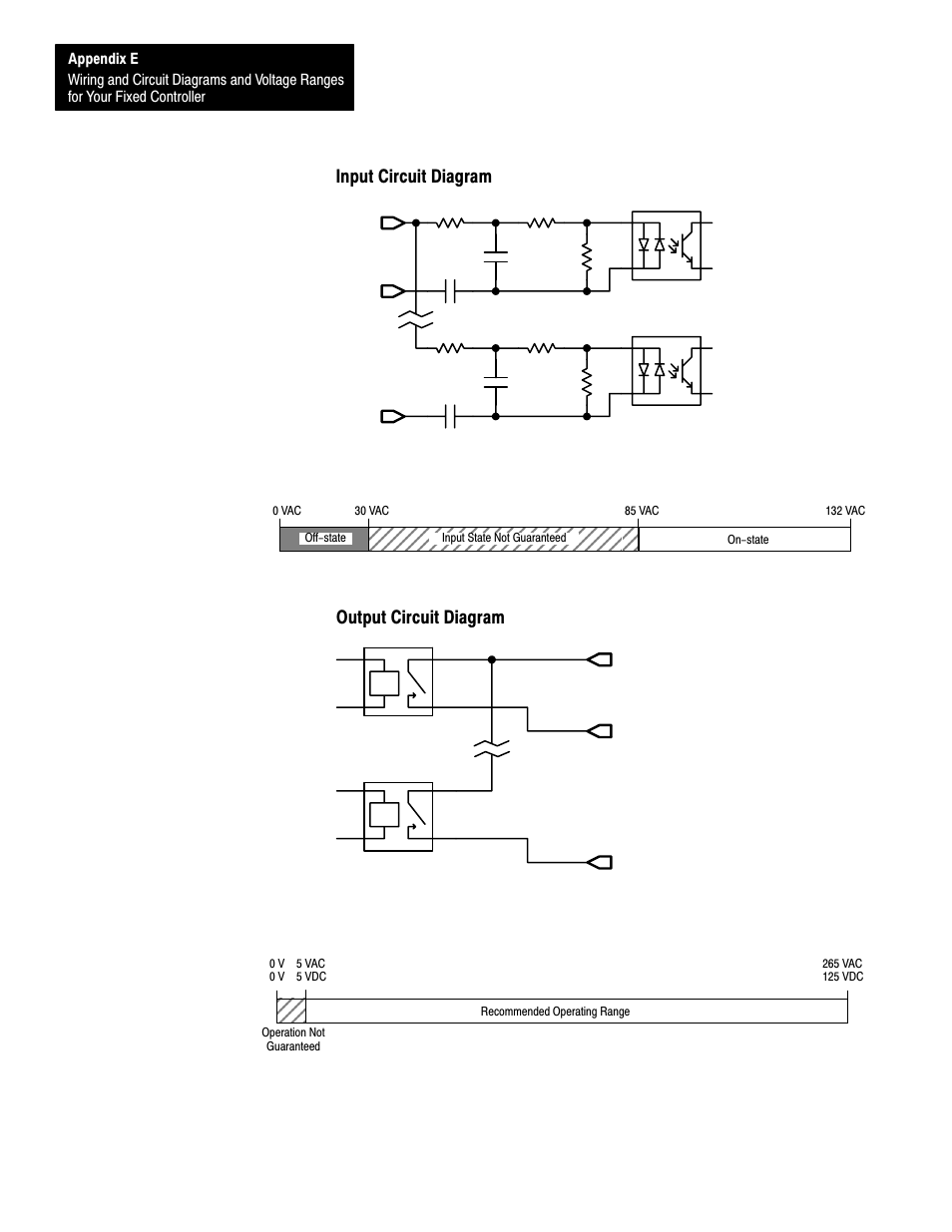 input circuit diagram, output circuit diagram, e-34 | rockwell automation  1747-l40 slc 500 fixed hardware style user manual | page 177 / 223
