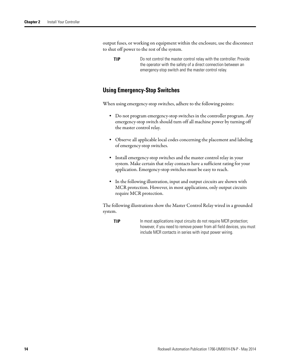 Using Emergency Stop Switches Rockwell Automation 1766 Lxxxx Estop Relay Wiring Diagram Micrologix 1400 Programmable Controllers User Manual Page 28 406