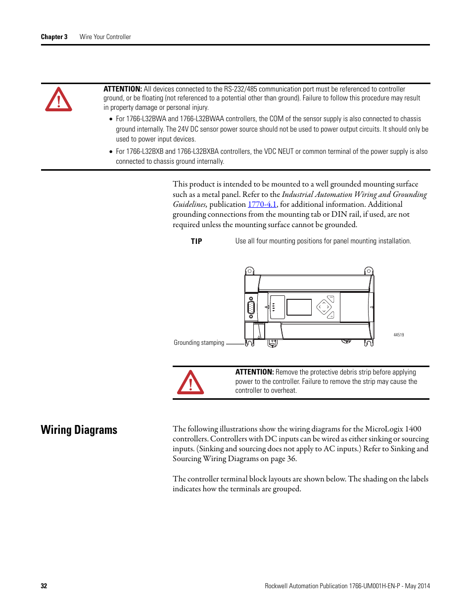 ... Wiring diagrams Rockwell Automation 1766 L MicroLogix 1400 Programmable  Controllers User Manual User Manual