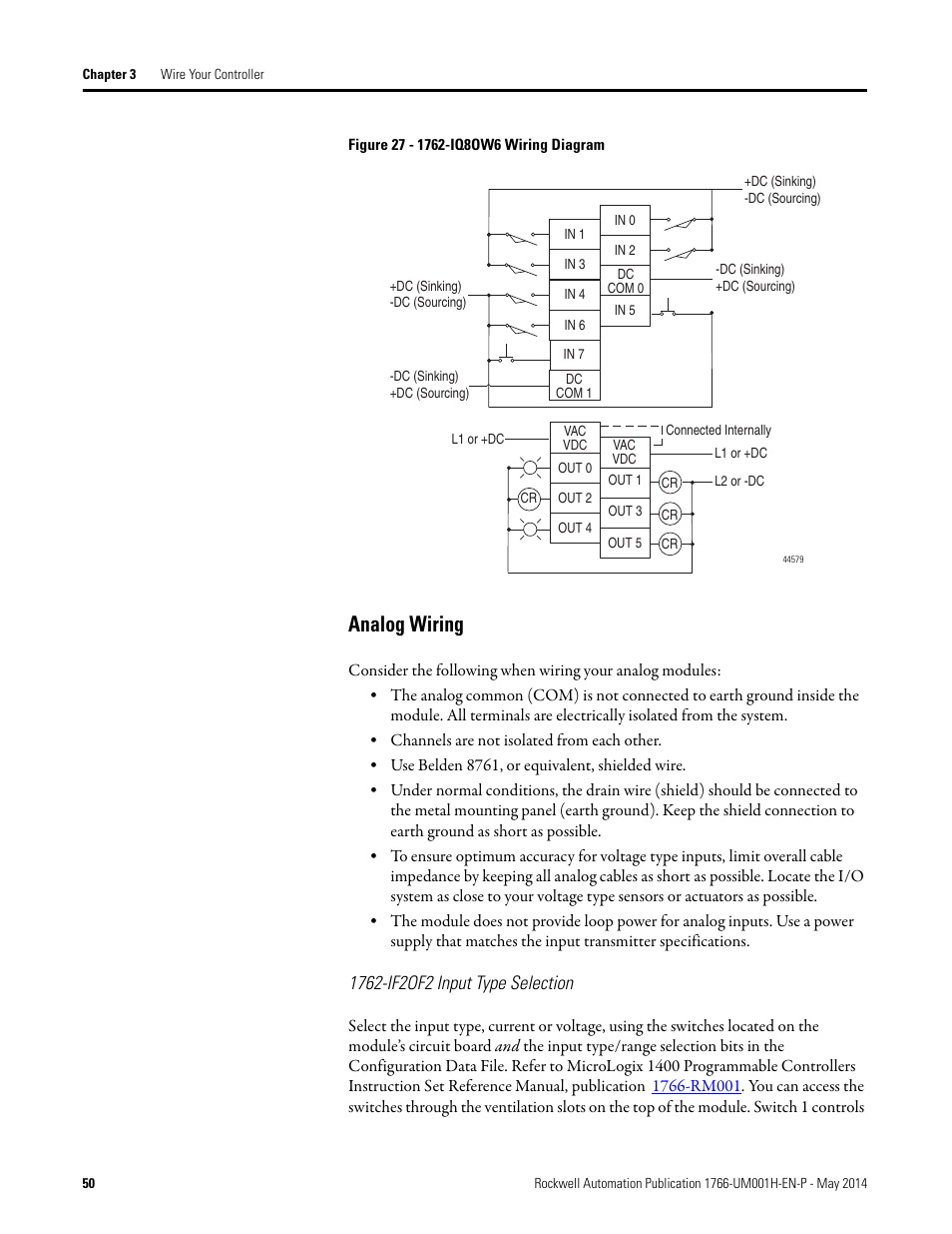 Analog Wiring 1762 If2of2 Input Type Selection Rockwell Automation 1766 Lxxxx Micrologix 1400 Programmable Controllers User Manual User Manual Page 64 406