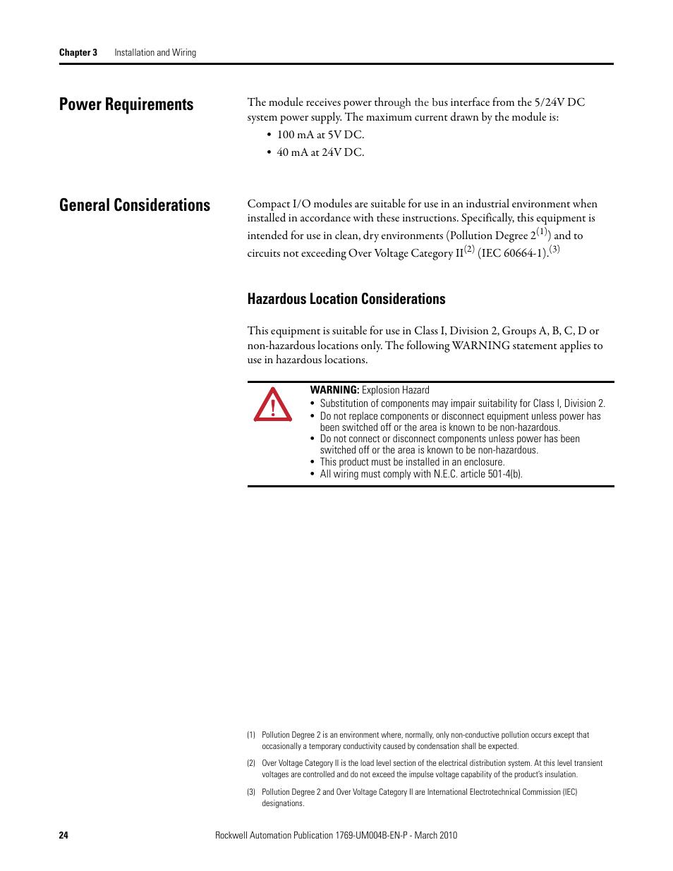 Power requirements, General considerations, Hazardous