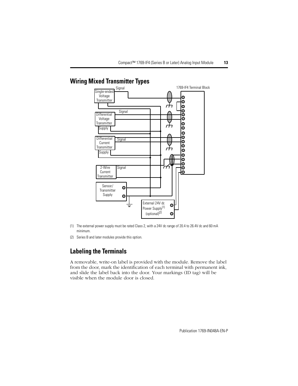 Wiring mixed transmitter types, Labeling the terminals | Rockwell ...