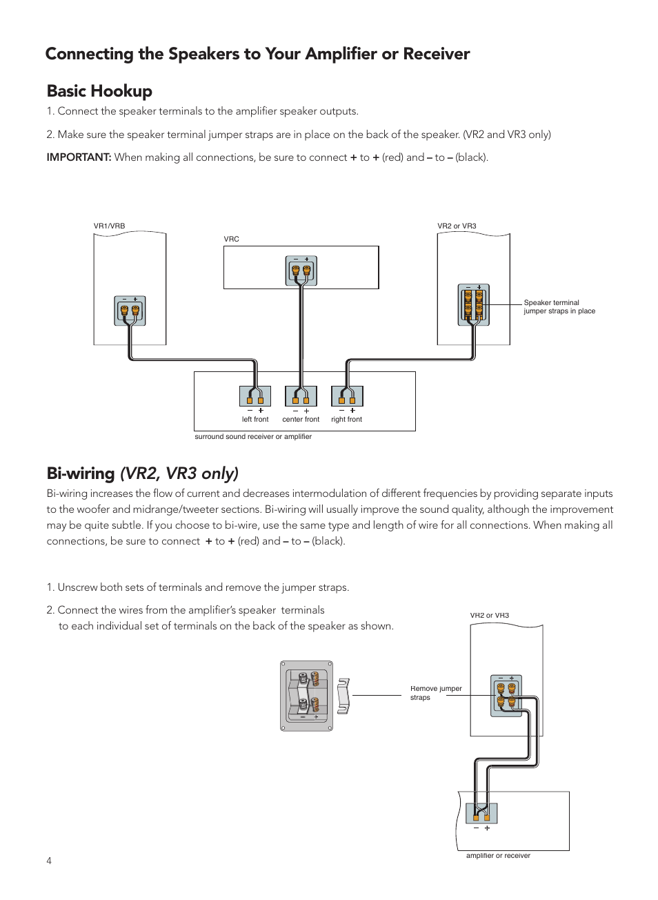 Basic hookup, Bi-wiring (vr2, vr3 only) | Boston Acoustics VRC User Manual  | Page 4 / 8Manuals Directory
