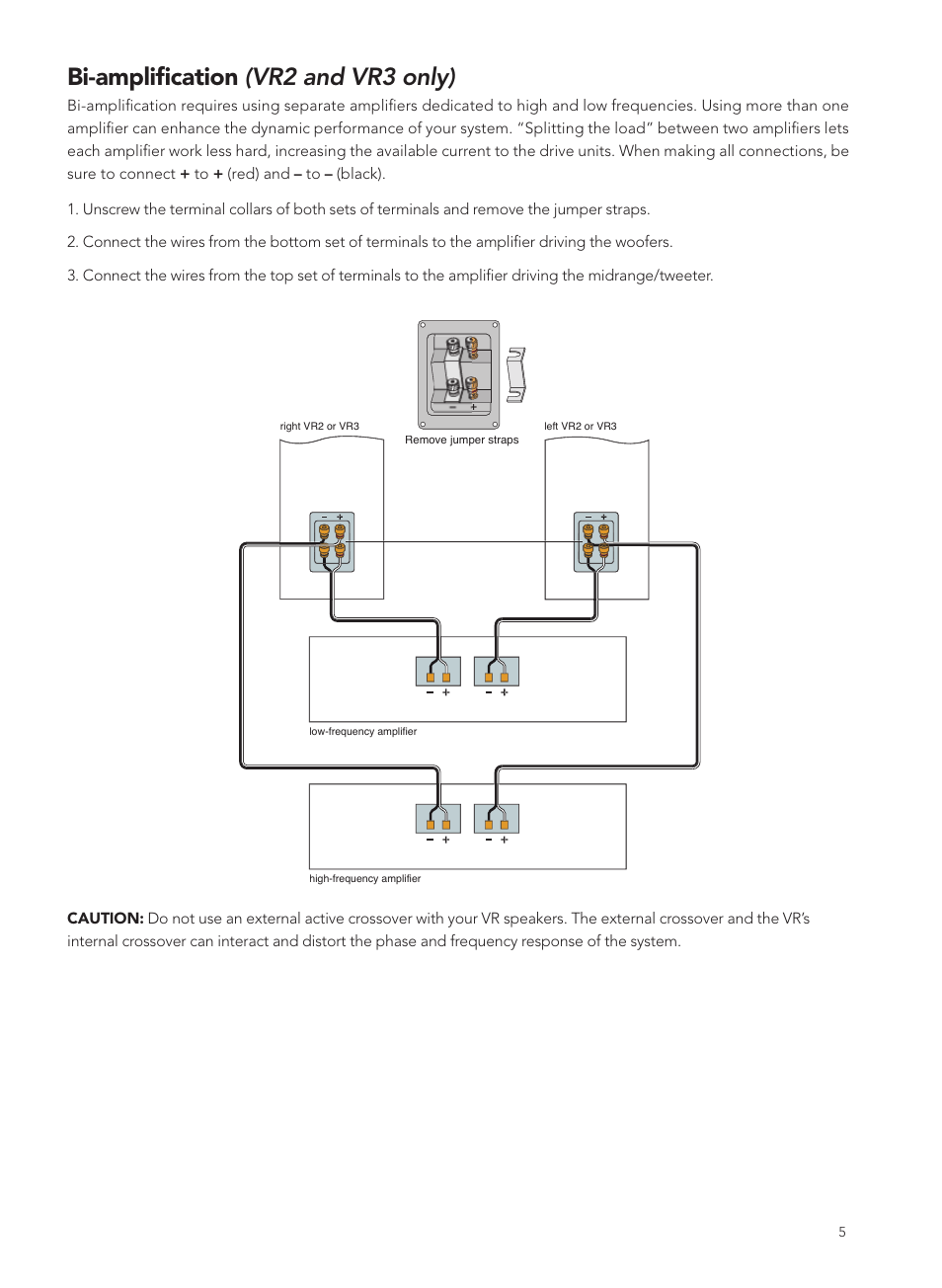 Bi Amplification Vr2 And Vr3 Only Boston Acoustics Vrc User Active Crossover Wiring Diagram Manual Page 5 8