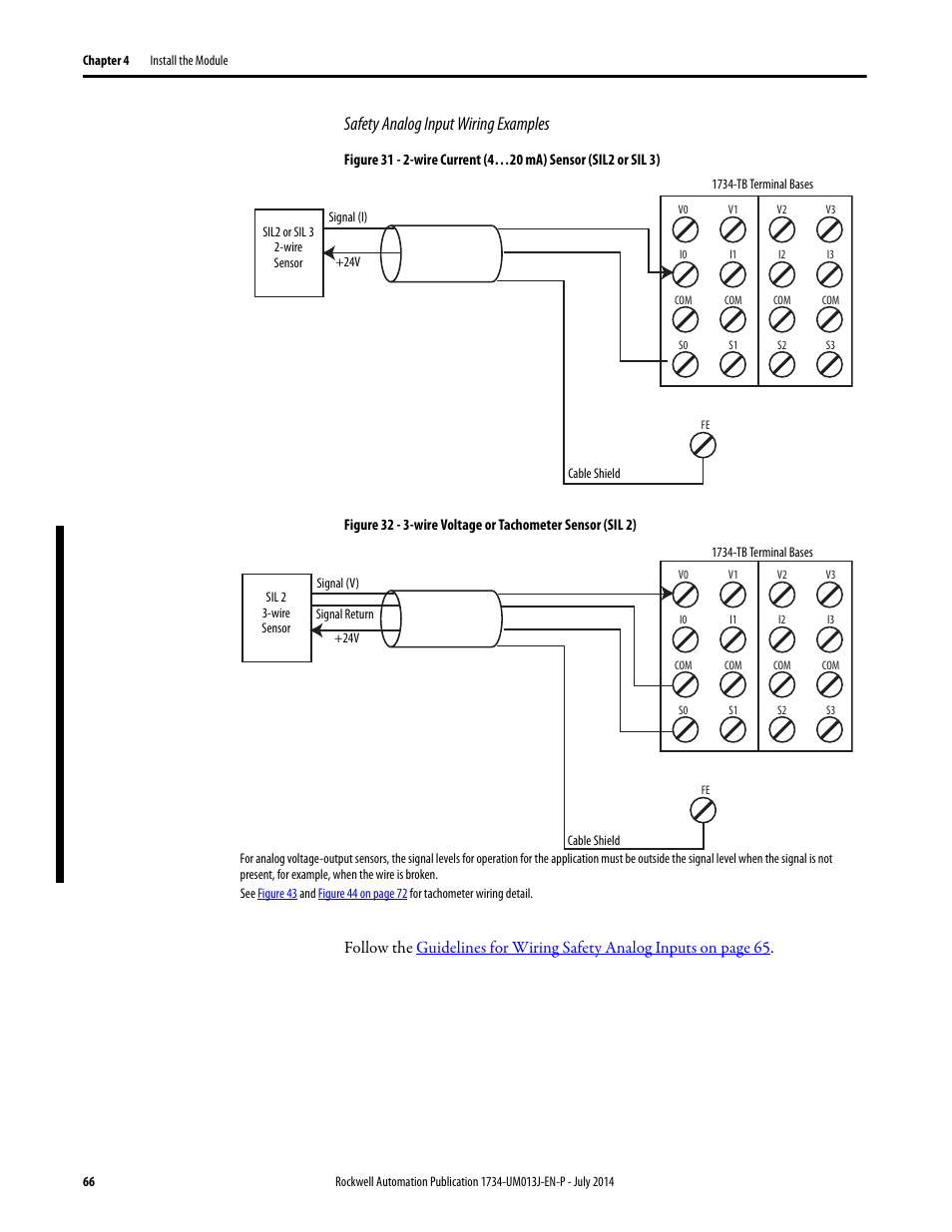 Safety Analog Input Wiring Examples Rockwell Automation 1734 Ie4s 2wire Diagram Tachometer Point Guard I O Modules User Manual Page 66 212