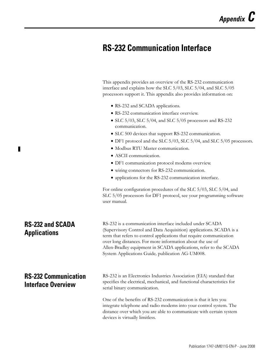 ... Rs-232 and scada applications, Rs-232 communication interface overview  | Rockwell Automation 1747-L5xx SLC 500 Modular Hardware Style User Manual  User ...
