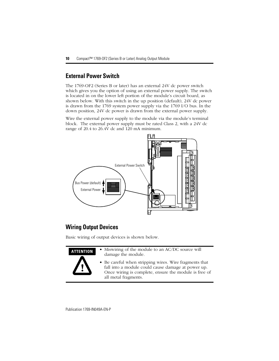 External Power Switch Wiring Output Devices Rockwell Automation Wire The In As Shown Below 1769 Of2 Compact Series B Or Later Analog Module User Manual Page 10 24