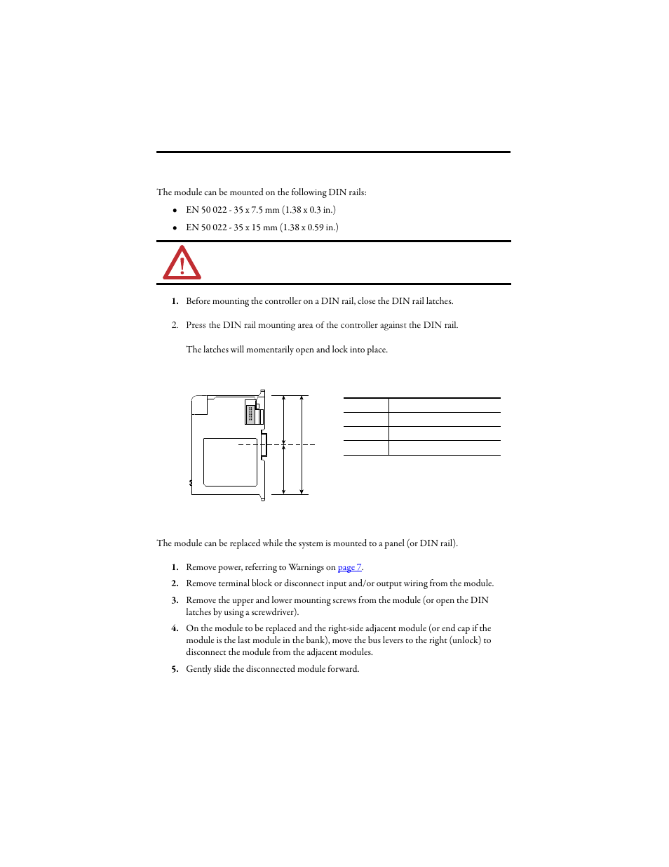 din rail mounting replace the module within a system rockwell rh manualsdir com Instruction Manual Example Instruction Manual
