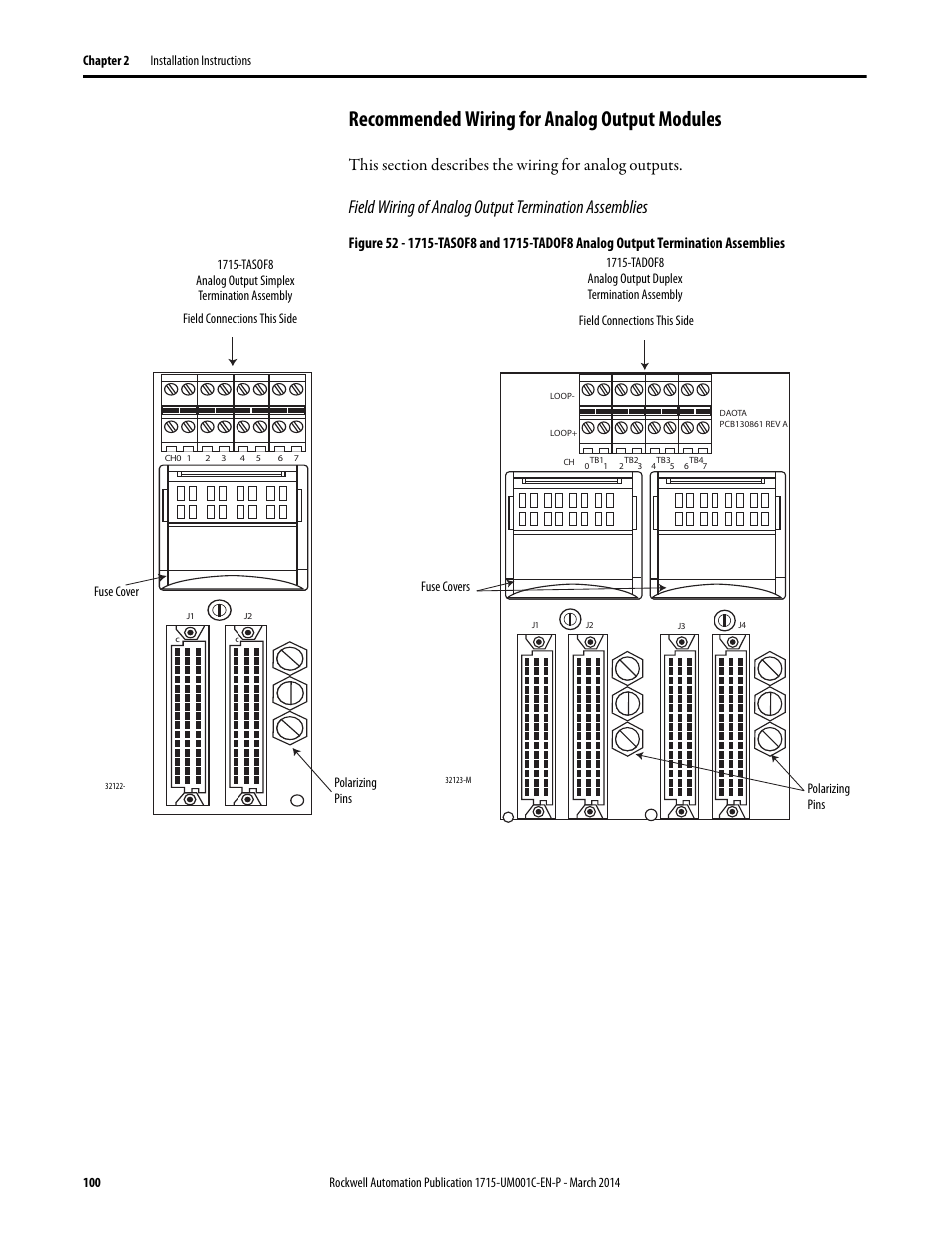 Recommended wiring for analog output modules | Rockwell Automation 1715-OF8I Redundant I/O System User Manual User Manual | Page 100 / 324