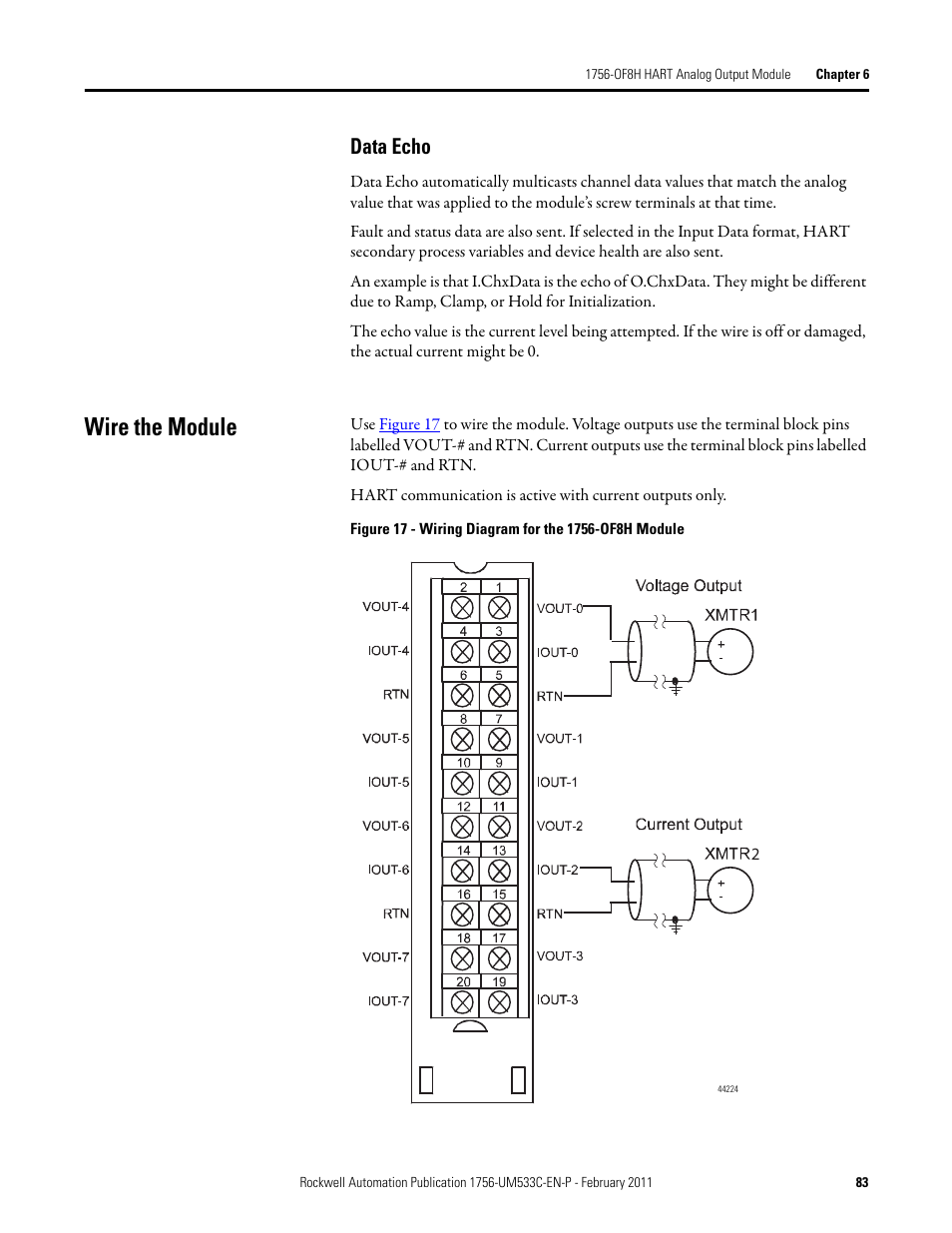 rockwell automation 1756 of8h controllogix hart analog i_o modules page83 wire the module, data echo rockwell automation 1756 of8h hard wiring diagram for goulds we0511h pump at bakdesigns.co