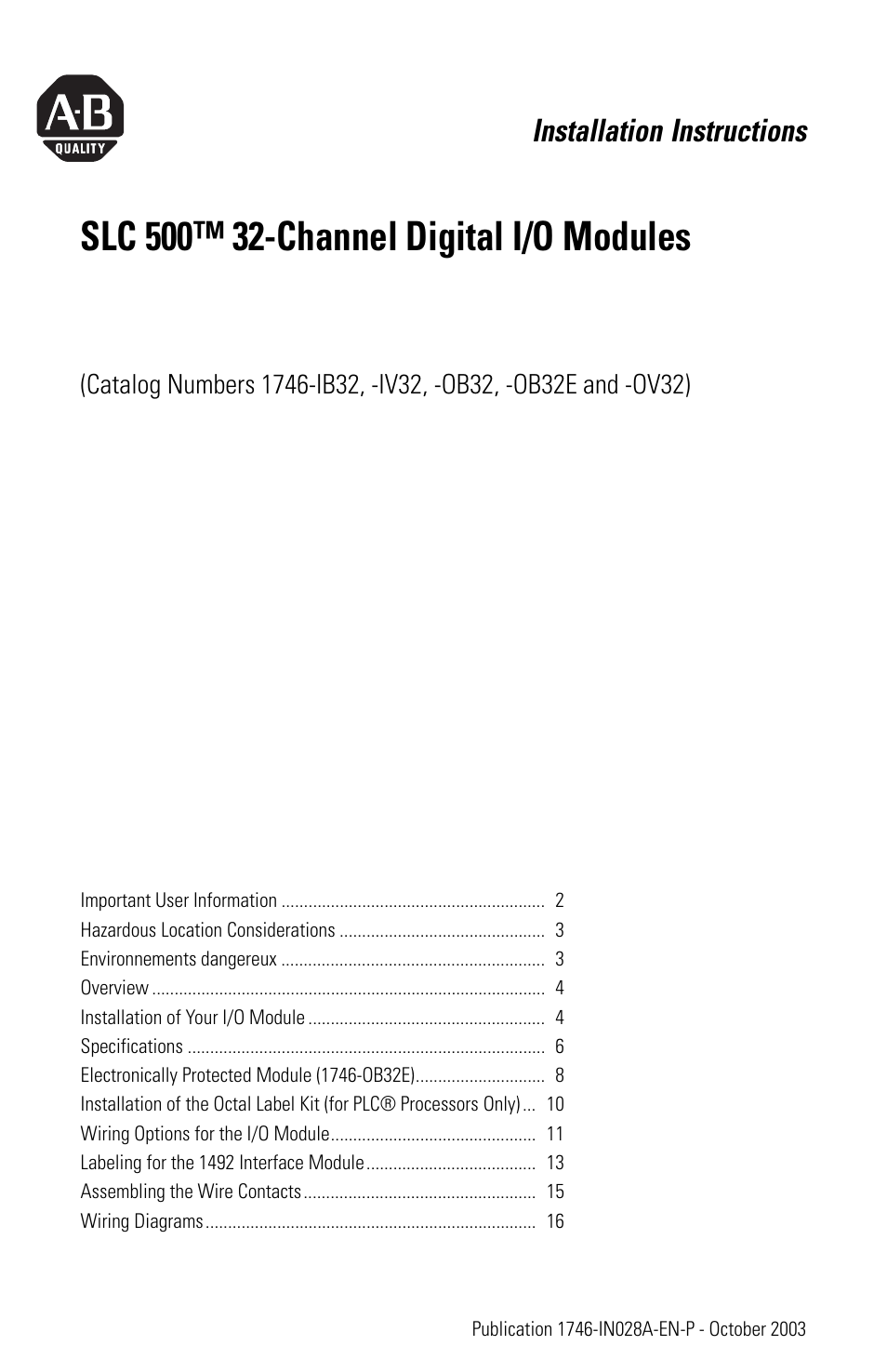 Rockwell Automation 1746 Xxxx Slc 500 32 Channel Digital I O Modules Ab Plc Wiring Diagram Installation Instructions User Manual 20 Pages