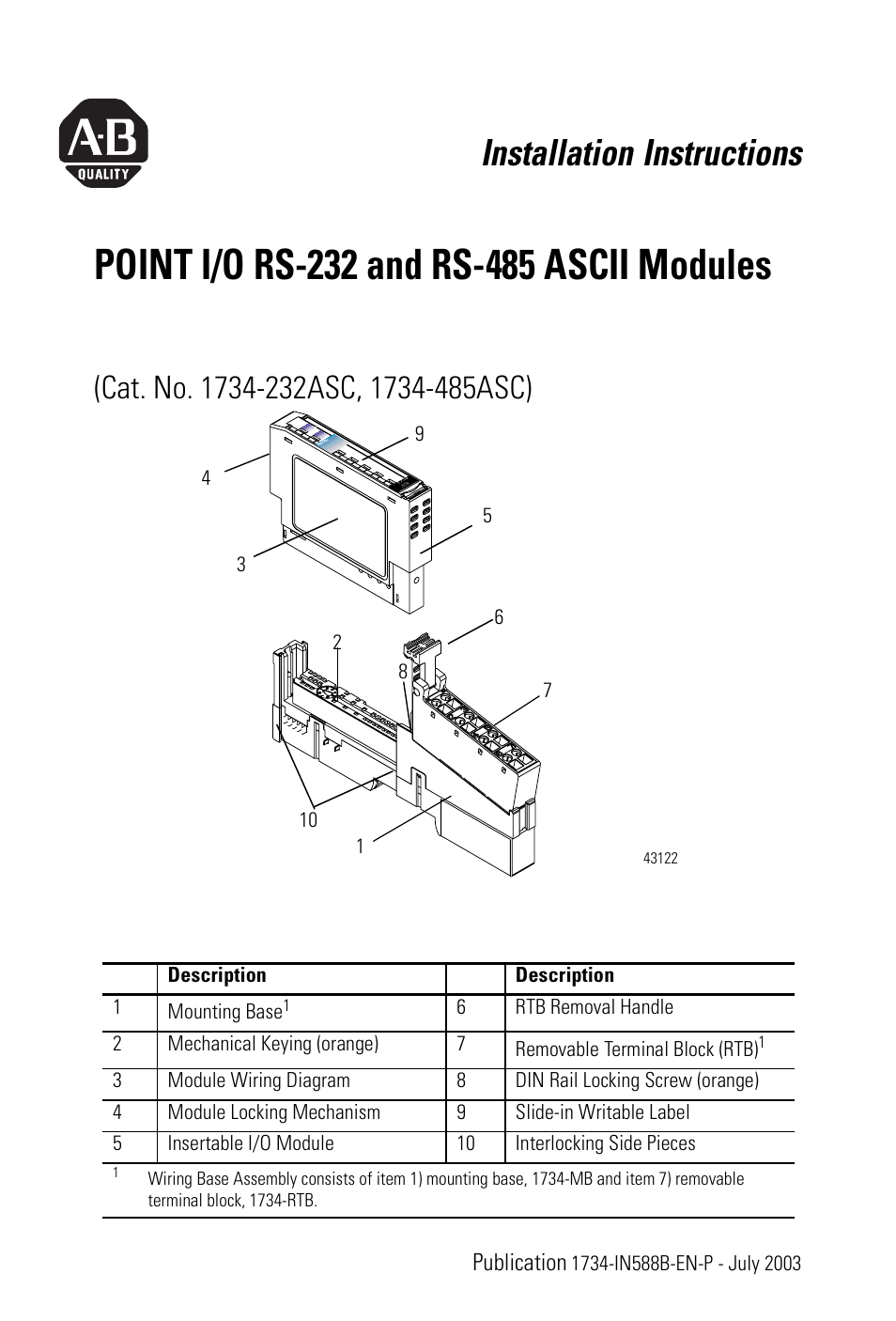 Rockwell Automation 1734 485asc Point I O Rs 232 And 485 Ascii Wiring Diagrams Terminal Blocks Modules Installation Instructions User Manual 24 Pages Also For A232asc