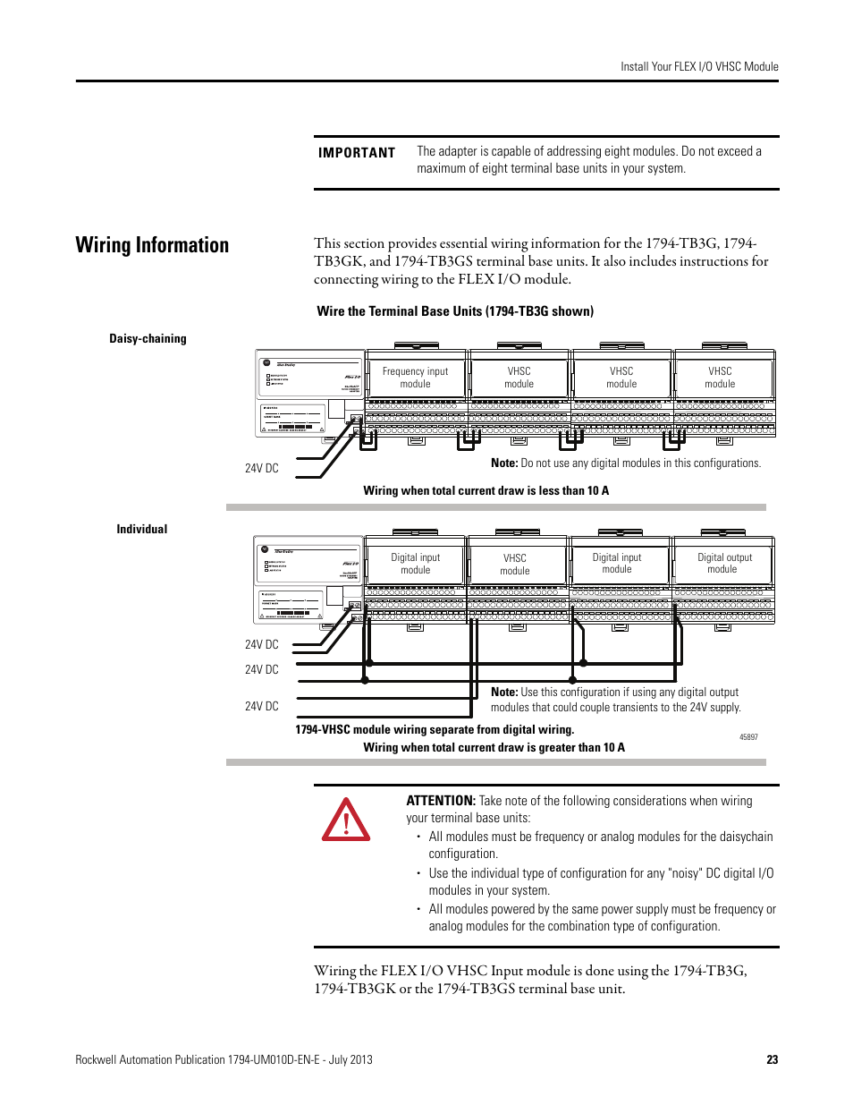 Wiring information, Wiring information on | Rockwell Automation 1794-VHSC  1794 FLEX I/O Very High Speed Counter Module User Manual User Manual | Page  31 / ...