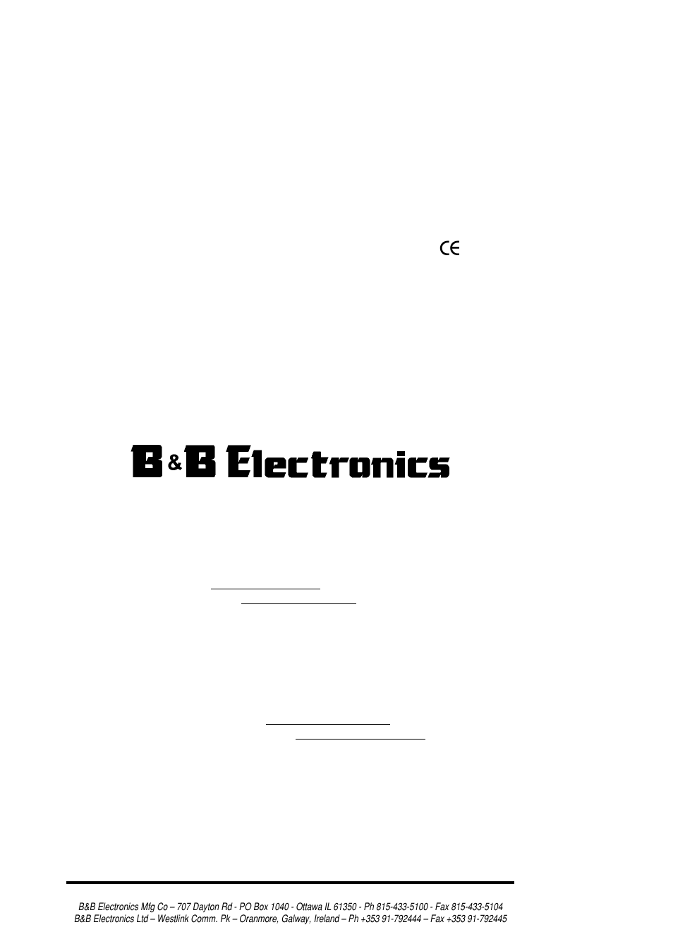 B&B Electronics RS-232/422/485 Serial Card CE 3PXCC4A User Manual | 47 pages