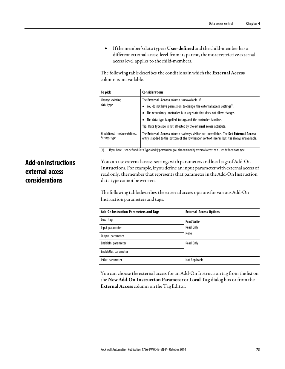 Add-on instructions external access considerations   Rockwell Automation Logix5000  Controllers I/O and Tag Data Programming Manual User Manual   Page 73 / ...