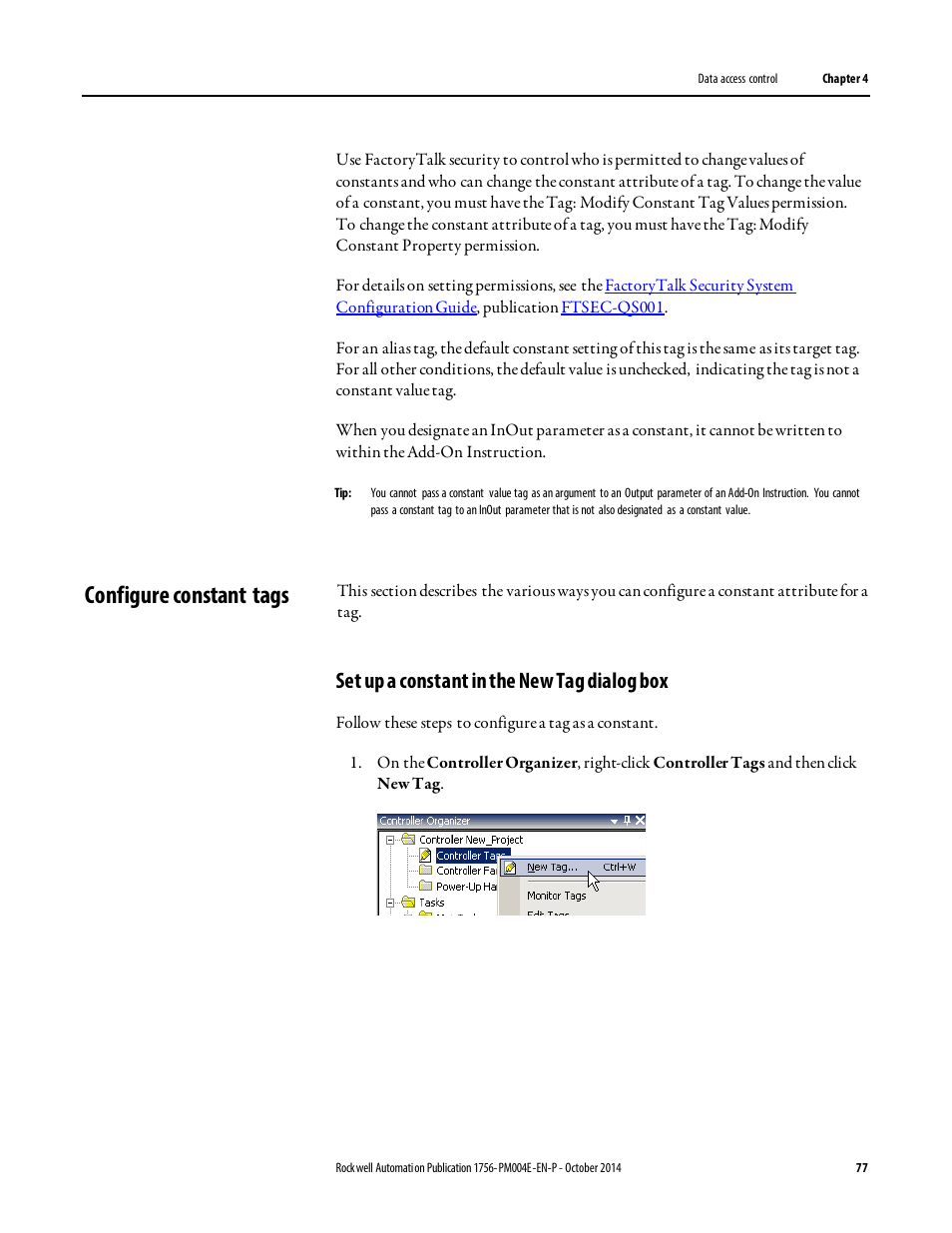 Configure constant tags, Set up a constant in the new tag dialog box    Rockwell Automation Logix5000 Controllers I/O and Tag Data Programming  Manual User ...