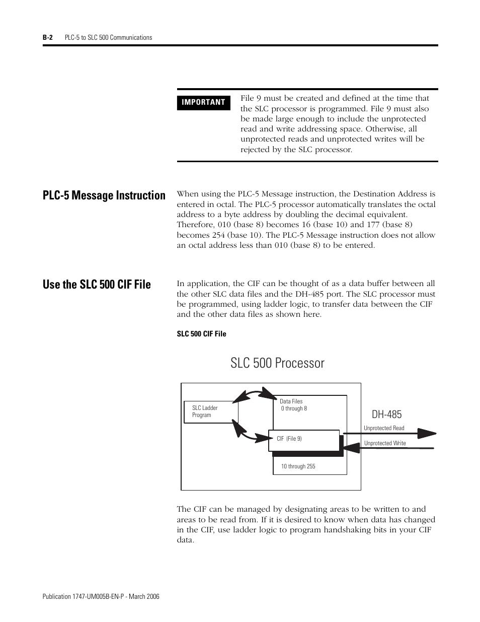 Plc 5 Message Instruction Use The Slc 500 Cif File Slc 500 Cif