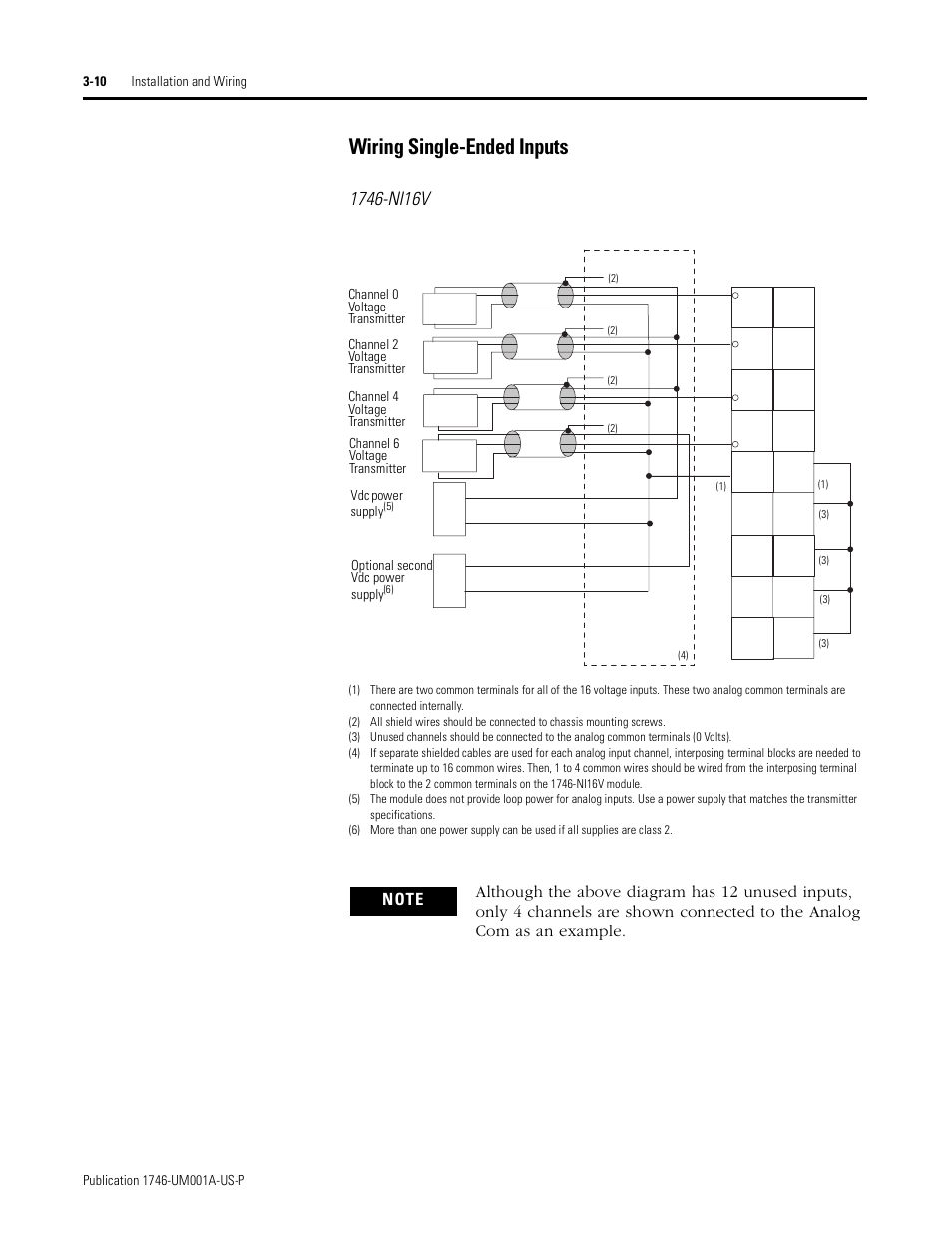 Wiring Single Ended Inputs 10 Channel 4 Diagram Rockwell Automation 1746 Ni16v Slc 500 Analog Input Modules User Manual Page 32