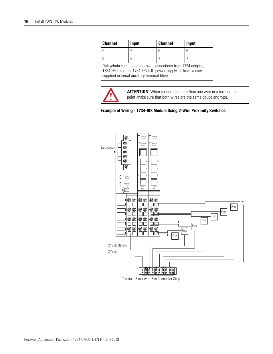 Terminal Block With Bus Connector Strip Rockwell Automation 1734 Wire Proximity Switch Wiring Diagram Further 3 Sensor Xxxx Point I O Digital And Analog Modules Pointblock User Manual Page