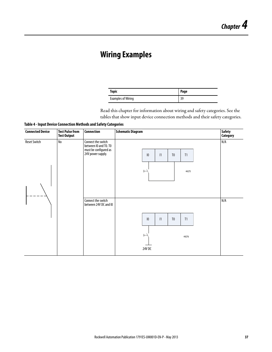 4 - wiring examples, Chapter 4, Wiring examples | Rockwell Automation  1791ES-IB16 Guard I/O EtherNet/IP Safety Modules User Manual | Page 37 / 100