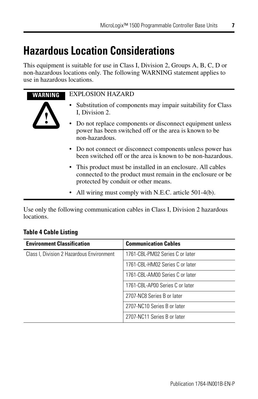 Hazardous location considerations | Rockwell Automation 1764-28BXB ...