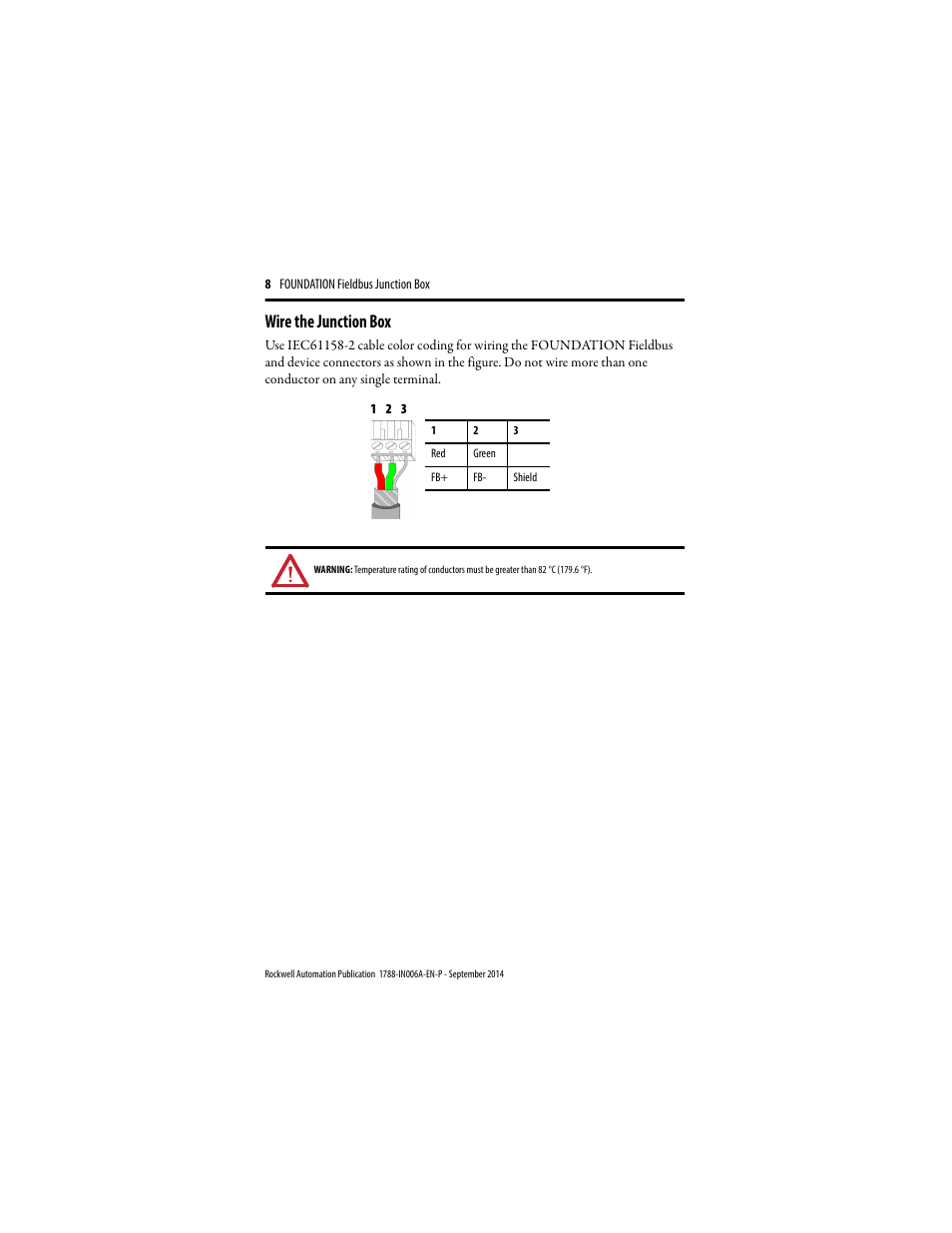 Wire The Junction Box Rockwell Automation 1788 Fbjb6 Foundation Wiring A 6 Terminal Fieldbus Installation Instructions User Manual Page 8 18