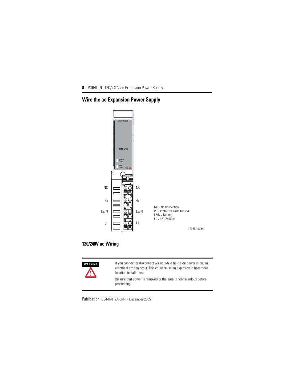 Wire the ac expansion power supply, 120/240v ac wiring | Rockwell  Automation 1734-EPAC POINT I/O ac Power Supply User Manual | Page 8 / 16