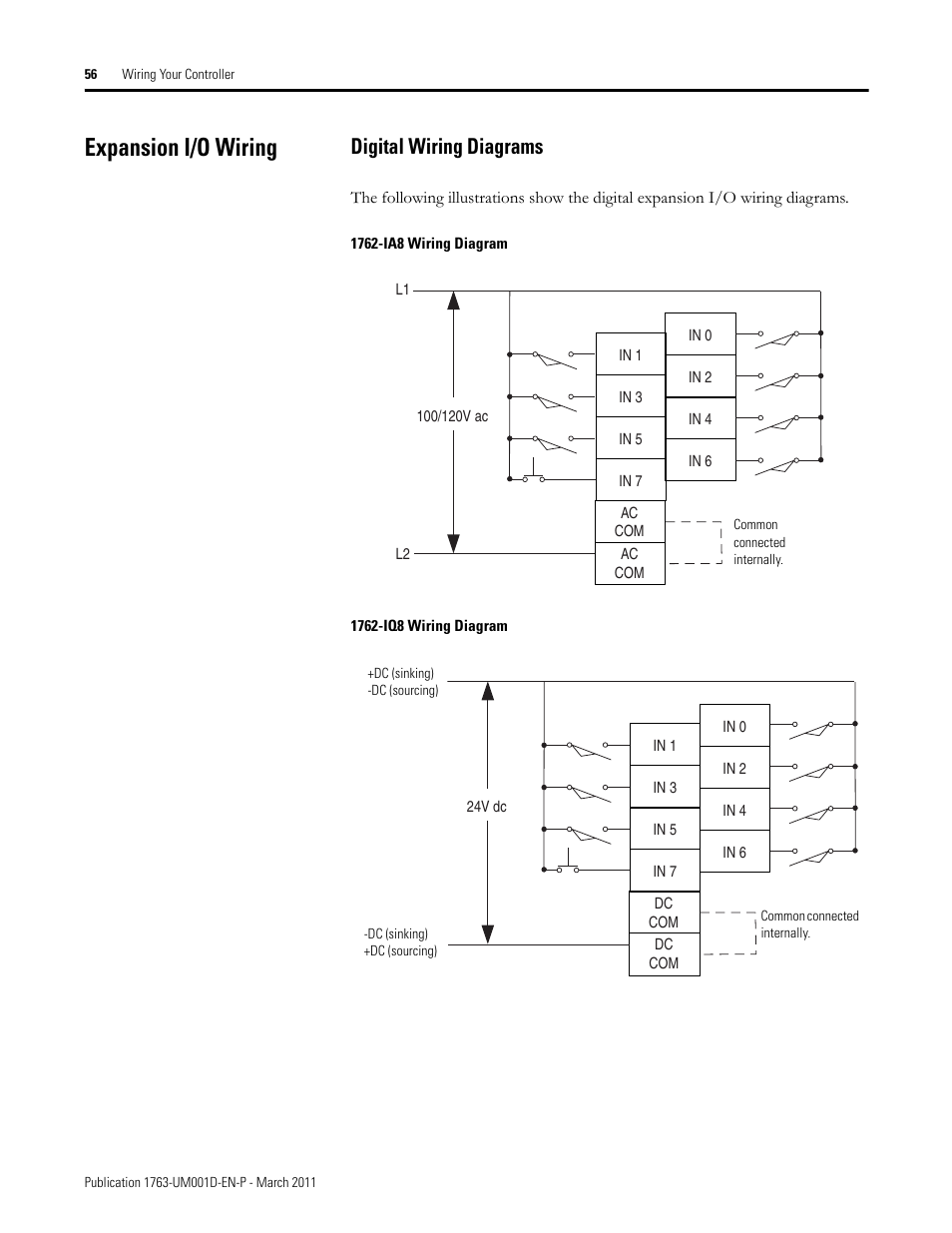 Expansion i/o wiring, Digital wiring diagrams | Rockwell Automation 1763 MicroLogix  1100 Programmable Controllers User Manual User Manual | Page 58 / 256