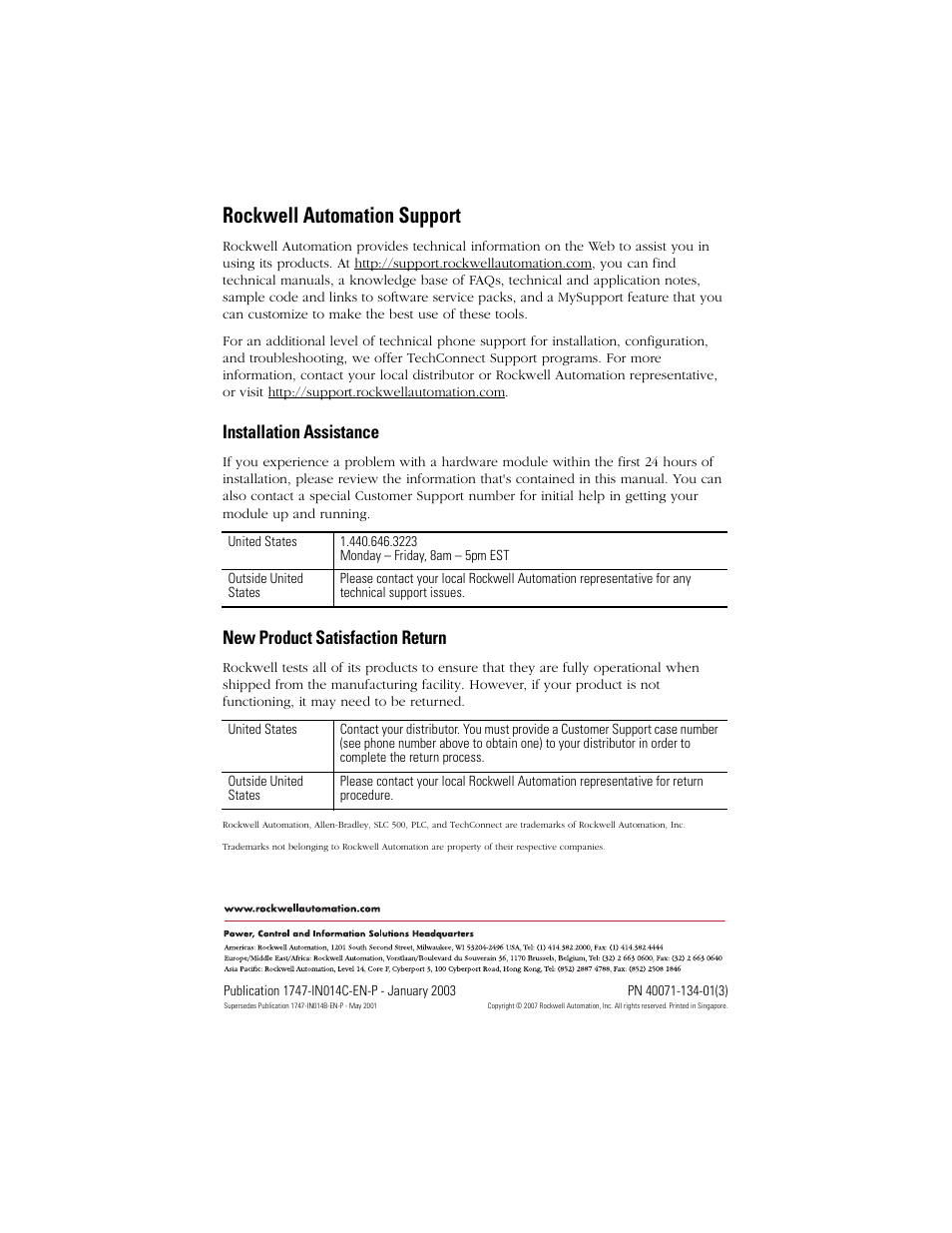 Back cover, Rockwell automation support, Installation assistance