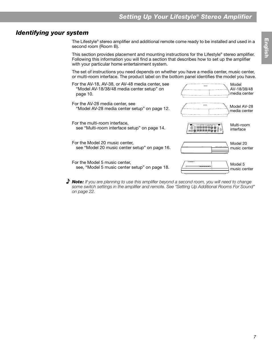 Setting up your lifestyle, Stereo amplifier identifying your system   Bose  SA-2 User Manual   Page 9 / 88