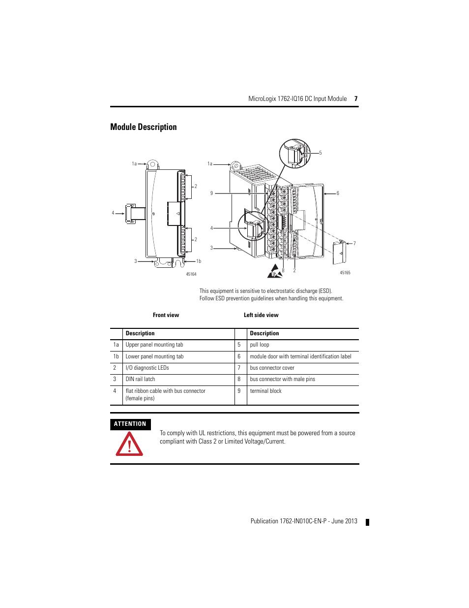 Module Description Rockwell Automation 1762 Iq16 Dc Input Module User Manual Page 7 20