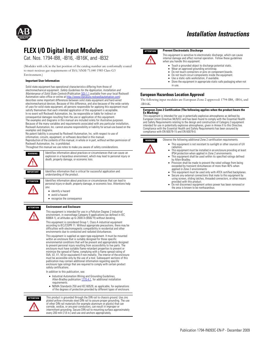 rockwell automation 1794 ib8_ib16_ib16k_ib32 flex i o digital input TB Woods Wiring Diagrams rockwell automation 1794 ib8_ib16_ib16k_ib32 flex i o digital input modules installation instructions user manual 6 pages