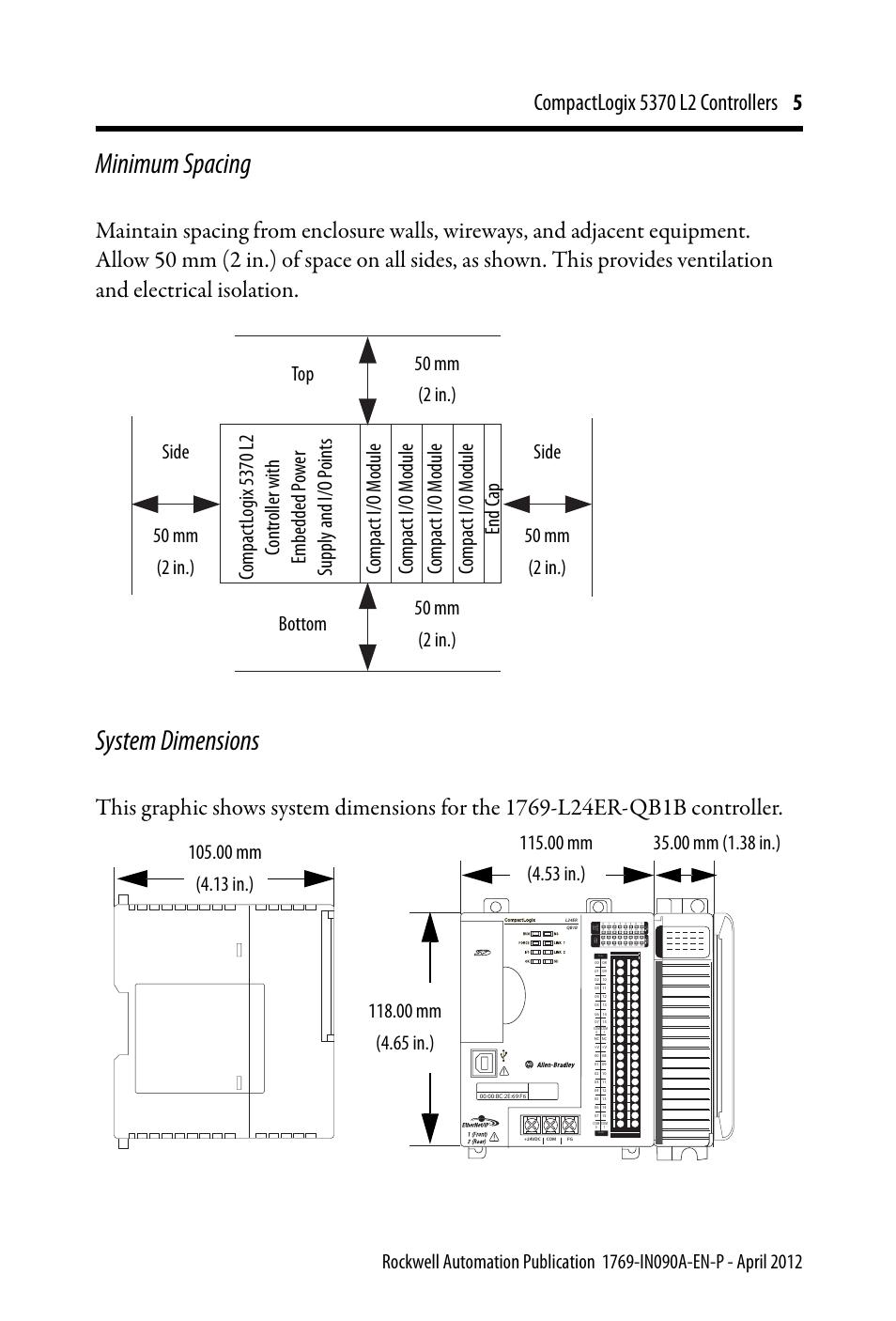 Minimum Spacing System Dimensions Rockwell Automation 1769 L24er Qb1b Qbfc1b Qbfc1b Compactlogix 5370 L2 Controllers Installation Instructions User Manual Page 5 16 Original Mode