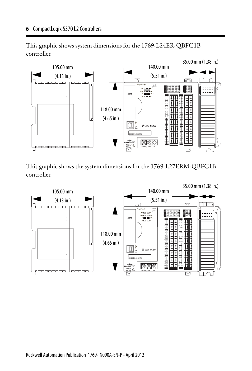 Dc Input 24vdc Sink Source 24vdc Source Output Dc Dc In Hsc Dc Out Analog Rockwell Automation 1769 L24er Qb1b Qbfc1b Qbfc1b Compactlogix 5370 L2 Controllers Installation Instructions User Manual Page 6 16 Original Mode