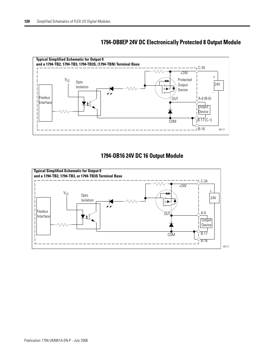 rockwell automation 1794 ob16d flex i_o diagnostic modules user manual page122 1794 ob16 24v dc 16 output module, 120 1794 ob16 24v dc 16 output 1794 ib16 wiring diagram at mifinder.co
